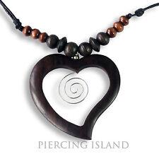 Herz GLÜCKSBRINGER Handarbeit Amulett Halskette Holz Anhänger N242
