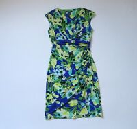 LAUREN Ralph Lauren Yellow Green Blue Floral Print V-neck Ruched Jersey Dress 4