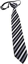 Security Sicherheits Krawatte silber schwarz gestreift - vorgebunden Gummizug
