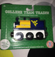 West Virginia Mountaineers Wooden Toy Train Engine NCAA College Team Trains WVU