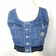 VTG 80/90's Womens Guess Denim Bustier/Sport Bra Crop Top Shirt Sz S RARE AH13