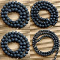 """Fresh Natural Nature Black Volcanic Lava Gemstone Round Beads 15"""""""