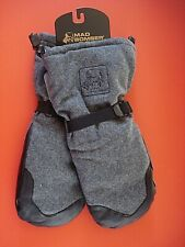 MAD BOMBER MITTENS GLOVES WOOL LEATHER GRAY SPECTATOR LARGE NEW