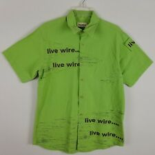 Pacifico collection short sleeved button front 100% cotton lime green shirt sz L