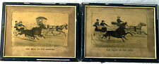 ULTRA-RARE 1879 Currier & Ives JOKERS - Horse Racing Litho Diptych LOVELY SHABBY