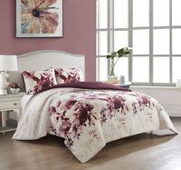 RED ROSE BEDDING SET White Floral Bedsheet Comforter Pillowcase King Size