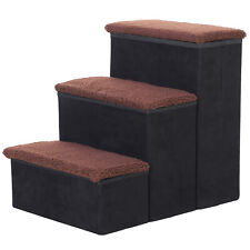 3-Step Foldable Pet Steps Pet Stairs with Fleece Cover and Storage