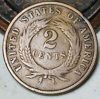 1870 Two Cent Piece 2C Ungraded Good Details Civil War Era US Copper Coin CC5863