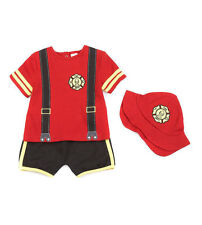 Starting Out Newborn Boys 3-Piece Fireman Diaper Set Outfit Costume Sz NB NWT