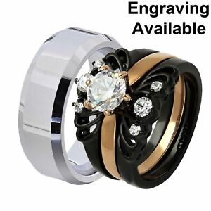 His & Hers Stainless Steel Round CZ Wedding Ring Sets Tungsten Men Band YW