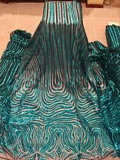 """BLACK MESH W/TURQUOISE  EMBROIDERY SEQUIN LACE FABRIC 52"""" WIDE 1 YARD"""