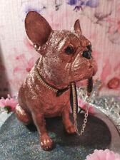 More details for french bulldog sitting statue, rosie bell design with diamante collar and crown