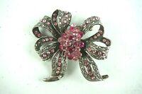 Vintage Jewelry Brooch Pink Rhinestone Silver Tone Ribbon Bow