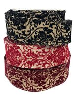 Bertie/'s Bows Damask Velvet Glittery 38mm Burlap by the 10m roll or per metre