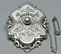 Biedermeier Medaillon-Brosche 800 Silber sehr guter Erhaltungszustand /A412