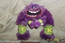 "Monsters University U Art Plush Toy Disney Pixar Just Play 8"" Purple"