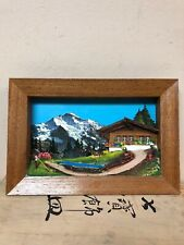 Vintage Asian 3-D Art Shadow Box Diorama Swiss Alps Scene In Wooden Box
