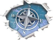 Adesivi barche - Effetto strappo Rosa dei venti Blu cm.25x19 Camper 4x4 bussola