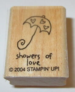 SHOWERS of Love Rubber Stamp Stampin' Up! Hearts Umbrella Bridal Baby Retired