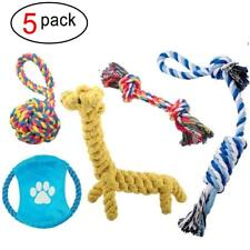 Pack of Five Dog Rope Toys Durable Teething Cleaning Chew Cotton Puppy Play Set