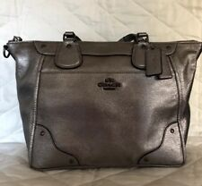 COACH Silver Metallic Pewter Leather Triple Satchel Carry All