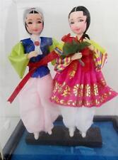 Korean Vintage Ceremonial Wedding Doll Set 2 Hand Painted Face, Hanbok Silk,Case