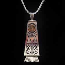Hopi Man in the Maze Sterling and 14K Gold Pendant by Jason Takala (Snow Clan)