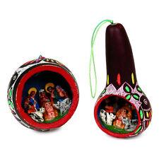 #3697 Pair 2 Gourd Hand Carved Nativity Christmas Tree Ornament Fair Trade Peru