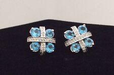14K White Gold Natural Blue Topaz (2.40tcw) & Diamond (.25tcw) Earrings