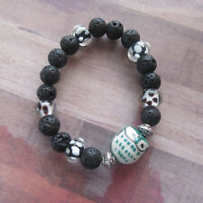 Green Owl Beaded Bracelet with Black Lava and Glass Beads