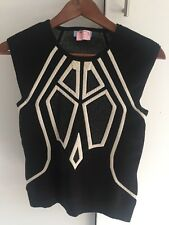 Cue Black And White Knit Winter Suit Work Or Play Top 10 S M 12