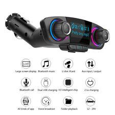 FM Transmitter Bluetooth Car Kit Handsfree A2DP AUX Audio Player Screen Display