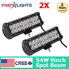 """2x 9"""" INCH 54W LED LIGHT BAR CREE SPOT OFF ROAD JEEP BOAT FOG 4X4 BUMPER 10 72W"""