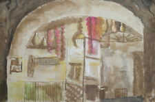 1977  Watercolor Painting Expressionist Interior Signed