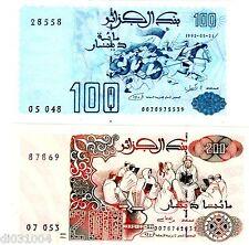 LOTE CONJUNTO SERIE 2 Billetes Algeria Argelia 100 & 200 DINARES 1992 NUEVO UNC