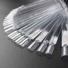 50 Clear Natural False Display Nail Art Fan Wheel Polish Practice Pop Tip Stick