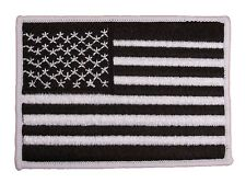 USA American Flag Black & White Embroidered Small Patch Veteran Military Biker