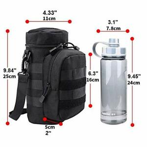 Outdoor Military Tactical Bag Adjustable Water Bottle Pouch MOLLE Hiking Black