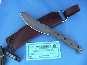 TOPS Brush Wolf Knife Green Canvas Micarta 1095 Carbon Steel Leather Sheath USA