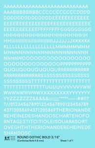 K4 HO Decals White 3/16 Inch Round Modern Gothic Bold Letter Number Alphabet Set
