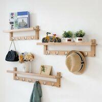 Coat Rack Wall-Mounted Bamboo Wooden Hook Rack w/5 Hooks for Hallway Bathroom us