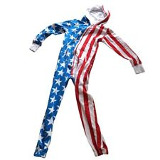 Tipsy Elves Unisex Size XS American Flag Jumpsuit Pockets & Hood Red White Blue