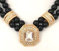 Vintage Monet Necklace Gold Tone Crystal Rhinestone Strand RUNWAY Estate 6H
