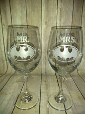 Batman Mr & Mrs Wine Glasses - Hand Etched Wine Batman Wedding Glassware