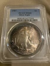 CRESCENT TONED BEAUTY! 1987 PCGS MS68 Silver Eagle