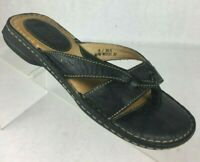Born Womens Black Leather Thong Sandals Flats US Size 6