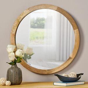 Heather Modern Round Mirror with Mango Wood Frame