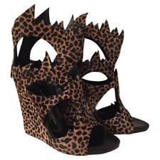 Giuseppe Zanotti Womens Leopard Print Calfskin Pony-Style Wedge Heel, Size 37