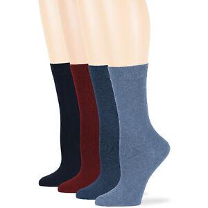 Women's Cotton 4 Pack Solid Crew Socks L-M Black-Navy-Brown-Beige-Khaki-Grey