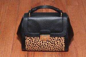 New Vera Bradley $248 Quilted Stella Mini Satchel Crossbody Bag Cheetah/Black